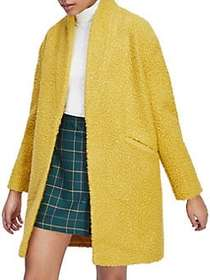 Miss Selfridge Ochre Boucle Cocoon Coat YELLOW