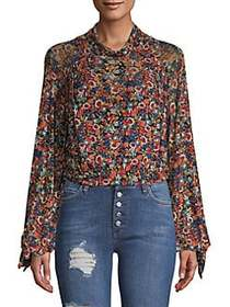Free People Floral Long-Sleeve Top BLACK COMBO