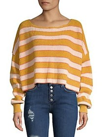 Free People Just My Stripe Pullover GOLD