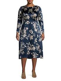 Vince Camuto Plus Refined Floral Long Sleeve Dress