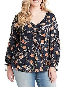 Jessica Simpson Plus Gathered Front Long Sleeve To
