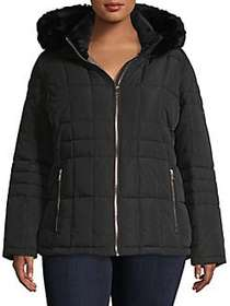 Calvin Klein Plus Faux Fur-Trimmed Quilted Jacket