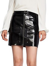 1.STATE Classic Faux Leather Mini Skirt BLACK