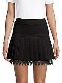 Romeo & Juliet Couture Pleated Lace Hem Mini Skort