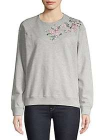 Lucky Brand Floral Embroidered Pullover HEATHER GR