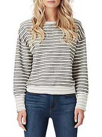 Jessica Simpson Geena Striped Bubble Sleeve Top WH