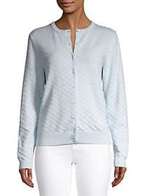 Lord & Taylor Long Sleeve Textured Cardigan BLUE M