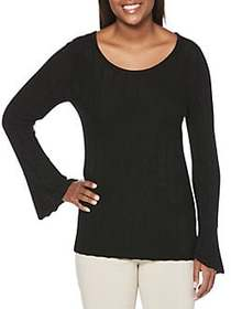 Rafaella Textured Roundneck Top BLACK