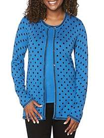 Rafaella Dotted Button Cardigan BLUE