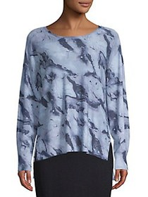 JONES NEW YORK Tie-Dye Long Sleeve Top BLUE COMBO