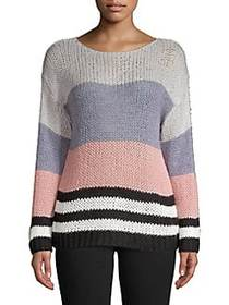 Lucky Brand Knit Colorblock Pullover PINK MULTI