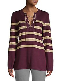 MICHAEL Michael Kors Striped Chain Lace-Up Tunic C
