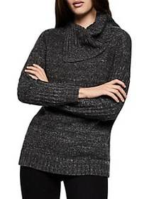 BCBGeneration Asymmetrical Cowl Sweater CHARCOAL