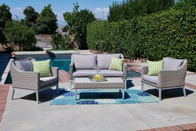 Lyndell 4 Piece Rattan Sofa Seating Group with Cus