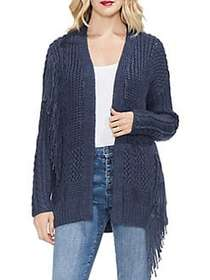 Vince Camuto Sapphire Sheen Fringed Cardigan INK B