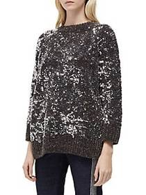 French Connection Rosemary Sequined Sweater BLACK