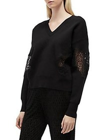 French Connection Lace V-Neck Sweater BLACK