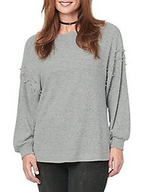 Democracy Faux Pearl-Embellished Sweater HEATHER G