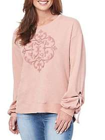 Democracy Graphic Tie-Sleeve Sweater MAPLE