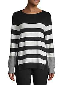 IMNYC Isaac Mizrahi Striped Colorblock Pullover BL