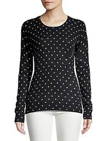 Lord & Taylor Dotted Crewneck Cashmere Sweater EBO