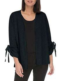 Bobeau Nia Ruched Cotton Cardigan BLUE