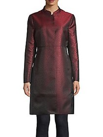 Anne Klein Mandarin Collar Dotted Coat TITIAN RED