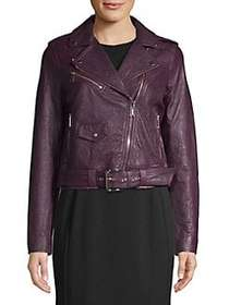 MICHAEL Michael Kors Leather Moto Jacket CORDOVAN