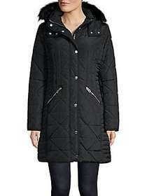 Guess Quilted Faux Fur-Trimmed Hooded Puffer Jacke
