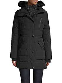Guess Quilted Bib & Faux Fur-Trimmed Hooded Anorak