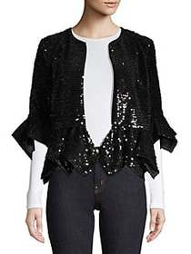 French Connection Alodia Sequin Jacket BLACK