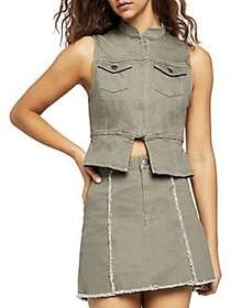 BCBGeneration Split-Front Denim Vest DUSTY OLIVE