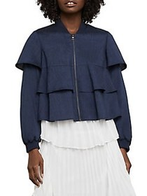 BCBGMAXAZRIA Ruffle Cropped Jacket DARK NAVY