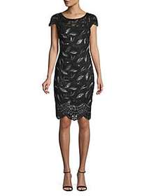 Calvin Klein Sequined Lace Cap-Sleeve Dress BLACK