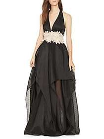 Halston Heritage Floor-Length Fit-&-Flare Gown BLA