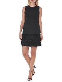 Sam Edelman Feather Hem Sheath Dress BLACK