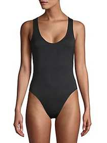 French Connection Scoop Neck Modal Bodysuit ANTHRA