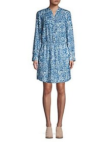 H Halston Printed Splitneck Blouson Dress BLUE