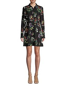 Highline Collective Floral A-Line Shirtdress BLACK