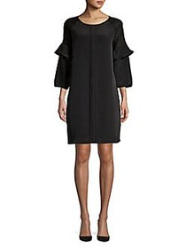 H Halston Blouse Long-Sleeve Shift Dress BLACK