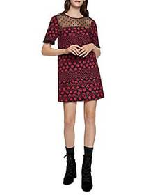 BCBGeneration Mixed Media Floral Dress RED