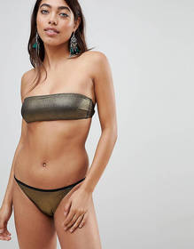 Pistol Panties Gold Metallic Bandeau Bikini Set