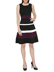 Tommy Hilfiger Colorblock Fit-&-Flare Dress BLACK