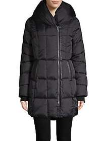 French Connection Hooded Quilted Coat BLACK