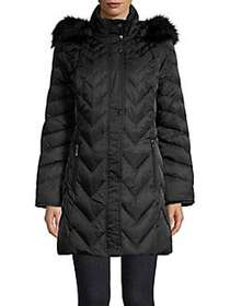 Kenneth Cole Faux Fur-Trimmed Quilted Parka BLACK