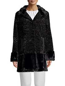 JONES NEW YORK Faux-Fur Printed Coat BLACK