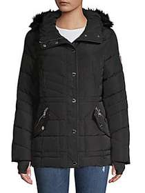 Guess Quilted Faux Fur Hooded Jacket BLACK