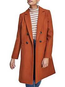 Miss Selfridge Double Breasted Coat BROWN