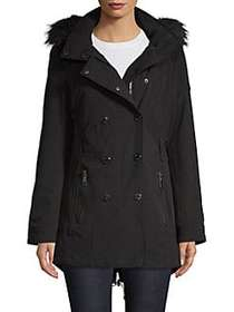 Calvin Klein Faux Fur-Trimmed Double-Breasted Coat
