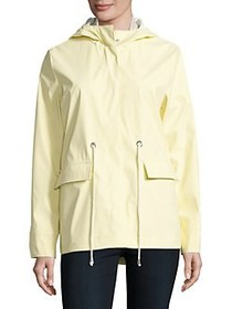 French Connection Hooded Hi-Lo Rain Jacket YELLOW